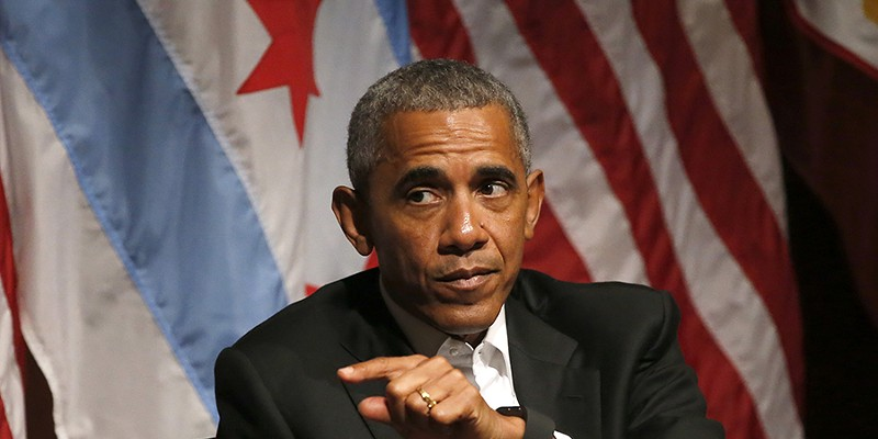 Obama didn't mention Donald Trump in his conversation on civic engagement and community organizing at the University of Chicago on April 24.