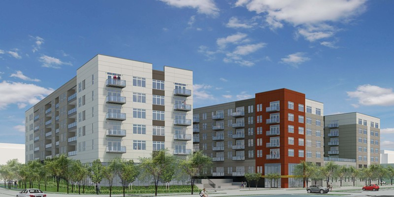 """Rendering of the proposed apartment building at 8535 W. Higgins Road. It would've been mostly luxury """"micro units,"""" but also include 30 affordable apartments."""