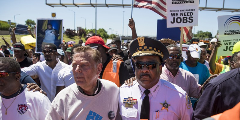Father Michael Pfleger and Chicago police superintendent Eddie Johnson at the protest that shut down the Dan Ryan last Saturday.