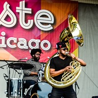 "Chance the Rapper, Donnie Trumpet, and the Roots at Taste of Chicago Damon ""Tuba Gooding Jr."" Bryson, tuba player of the Roots. Bobby Talamine"