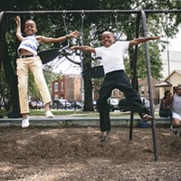 "Photo book Too Fly Not to Fly celebrates #blackgirlmagic and #blackboyjoy Eight-year-olds Kentrell McNeal, Kaylen Woodard, Miracle Powell, and Leilani Nichols in Bridgeport  Owusu: ""It was apparent to me that Kentrell and Kaylen were really good buddies. When good buddies link up, they have a great time. Good buddies also tend to compete with each other. Once I told Kentrell and Kaylen that I needed both of them to soar high in the sky, they looked at each other and said, 'Oh, I'm gonna jump higher than you, watch!' And there you have it, two black boys flying high in the sky."" Desmond Owusu"