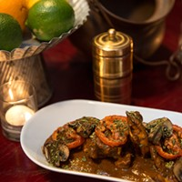 Mango Pickle Butter chicken garnished with oven-dried tomatoes and mushrooms Jamie Ramsay