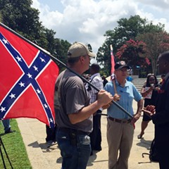 Three men—two from South Carolina, one from Georgia—discussed the Confederate flag outside the South Carolina Statehouse earlier today.