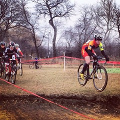 Maria Larkin clears some air during a 2014 cyclocross race.
