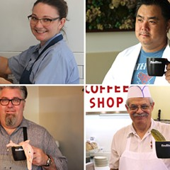 "Photos from Fooditor's publicity campaign, in which locals chefs posed with Fooditor mugs; the images originally ran with the words ""Fooditor is coming"" underneath."