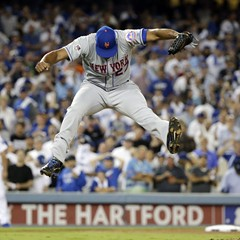 Closer Jeurys Familia jumps for joy in Los Angeles Thursday night after sealing the Mets' 3-2 win over the Dodgers with a strikeout.
