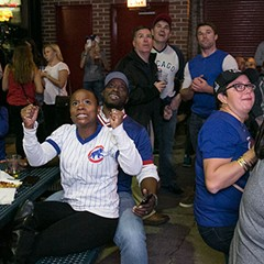 Cubs fans at Murphy's Bleachers react to game three of the National League Championship Series.