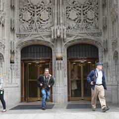 Tribune staffers prepare to exit the building.