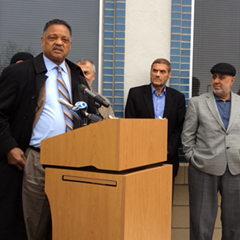 Reverend Jesse Jackson addressed worshipers at the Orland Park Prayer Center Friday, calling for Christian solidarity with Muslims.