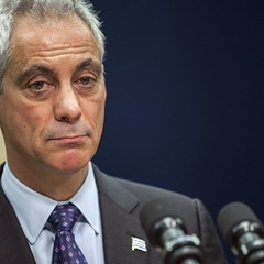 Mayor Emanuel at a news conference yesterday morning, at which he announced the firing of Chicago Police superintendent Garry McCarthy and the creation of a task force on police accountability.