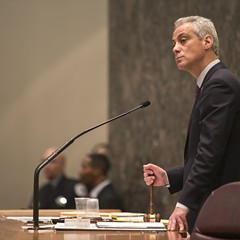 Emanuel addressed the City Council Wednesday as protesters outside called for his resignation.