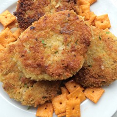 Cheddar risotto cakes