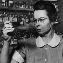 "A vintage photo from 1941 with the vintage caption ""Katharine Blodgett, one of the world's few 'big-shot' woman scientists."""