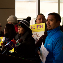 ICIRR CEO Lawrence Benito, right, called Tuesday for an extension of a program that would help prevent some deportations.