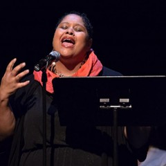 Poet Nikki Patin, pictured here at a 2014 event, gathered with other local spoken-word artists Monday to address the issue of sexual assault in their community.