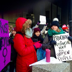 Counter protest: Pro-choice groups rallied across the street.