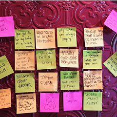Participants at a December meeting addressing sexism in comedy left their grievances about being a female in the industry on a 'wall of baggage.'