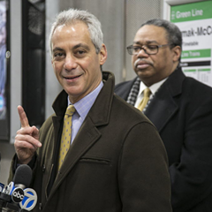 Mayor Rahm Emanuel discusses CTA crime statistics at the Cermak-McCormick Place Green Line Station Wednesday morning.
