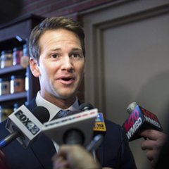 Aaron Schock speaks to the media in February 2015.