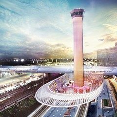 A rendering of a possible design for an express train station at O'Hare.