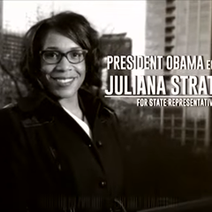 A still shot from Stratton's campaign ad