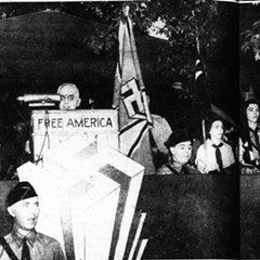 German-American Bund leader Fritz Kuhn promises to make Germany and America great once more at a rally at Irving Park and Narragansett on June 18, 1939.