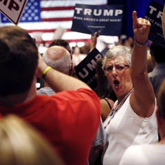 Trump supporters at a Tampa rally Sunday