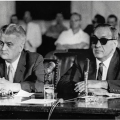 Chicago mobster Tony Accardo, right, and his attorney H. Clifford Allder at the witness table during a 1959 Senate Rackets Committee hearing in Washington, D.C.