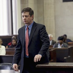 Jason Van Dyke, on trial for murder, pictured in a place he doesn't want to be.
