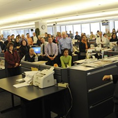 Michael Ferro addresses Sun-Times Media employees in the paper's newsroom in January 2011.