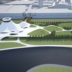 A rendering of what the proposed Lucas museum would look like on the land currently occupied by McCormick Place East.