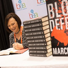 Marcia Clark signs copies of her new book, Blood Defense.
