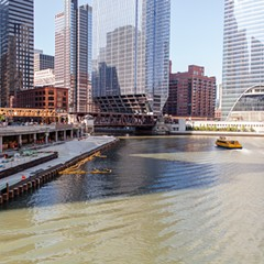The Riverwalk, as seen from Wacker Drive and Orleans Street