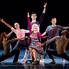 Carisa Barreca, center, with Jesse Bechard, Alice Klock, Michael Gross, Emilie Leriche, and Jonathan Fredrickson in The Art of Falling