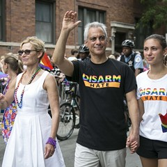 Mayor Rahm Emanuel and his family march in the 47th annual Chicago Pride Parade, which kicked off at Montrose and Broadway Sunday.