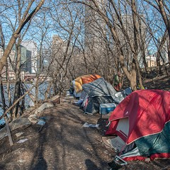 The residents of Rezkoville's tent city battle the elements—and personal demons