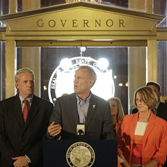 Governor Bruce Rauner and lawmakers announce a stopgap budget deal in Springfield Thursday.