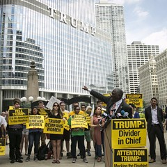 Activists gathered near the Trump Tower Tuesday to unite against presumptive Republican presidential nominee Donald Trump.