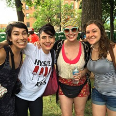 That's me in the sunglasses, with two friends and Kathleen Hanna at Pitchfork last year. Moments later I turned into a emotional puddle.