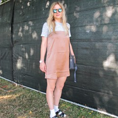 The slip dress/ T-shirt combo Jess is wearing is very on trend.