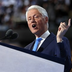 Former president Bill Clinton during his Democratic National Convention speech Tuesday night.