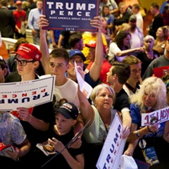 Trump supporters at a rally in Portland Thursday