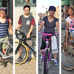 From left: Xing Hua Wu transports groceries to his sister's house; Henry Guan and Daniel Lau in the plaza of Chinatown Square; Tang Hou shops by bike on Wentworth; so does Bao Ju Huang; Kevin Kwong also uses a bike to get around.
