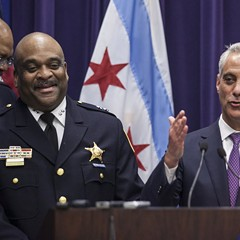 Mayor Rahm Emanuel, right, and Chicago Police Department superintendent Eddie Johnson