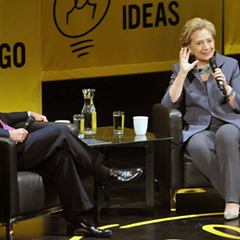 Mayor Rahm Emanuel and Democratic presidential nominee Hillary Clinton at Chicago Ideas Week in 2014
