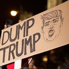 Signs of the time: Chicago protests president-elect Trump
