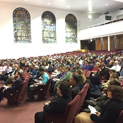 The audience at Tuesday night's community meeting