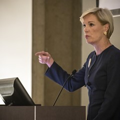 Cecile Richards gives her talk at the University of Chicago Law School.