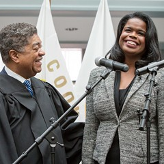 Chief judge Timothy Evans swears in Kim Foxx as Cook County's first African-American female state's attorney.