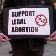 A protester's sign at a rally in the Loop to support legal abortion on December 1, 2015